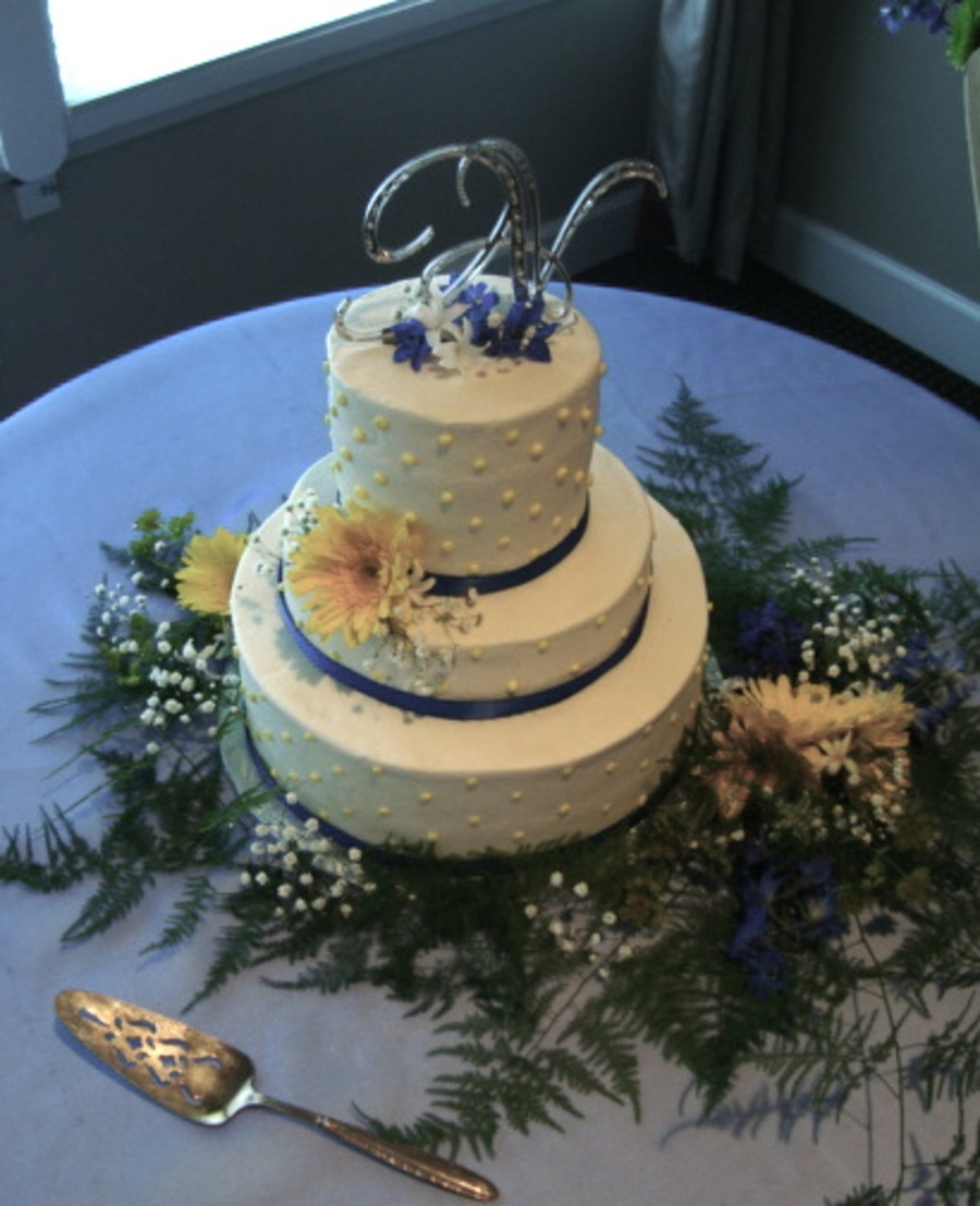 Yellow And Royal Blue Wedding on Cake Central