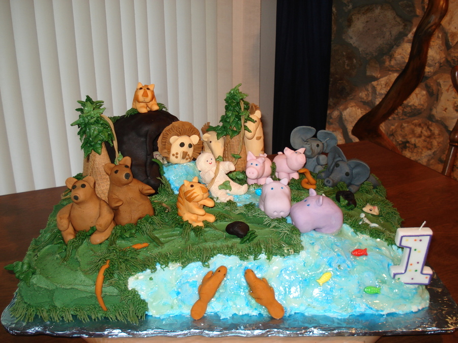 My Grandsons First Birthday Butter Cream Icing All Animals