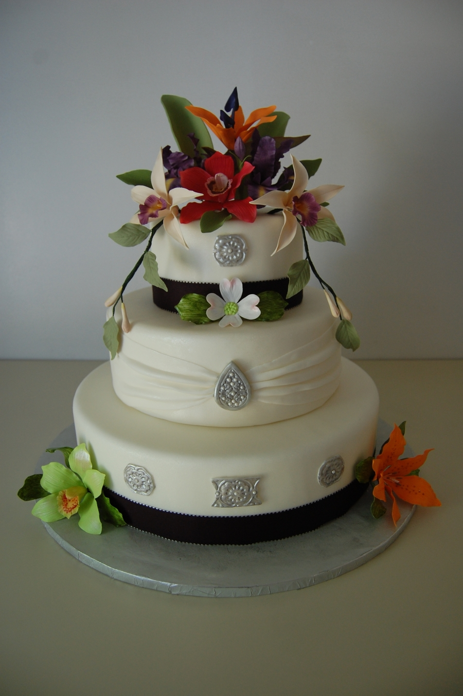 Exotic Flower Wedding Cake on Cake Central