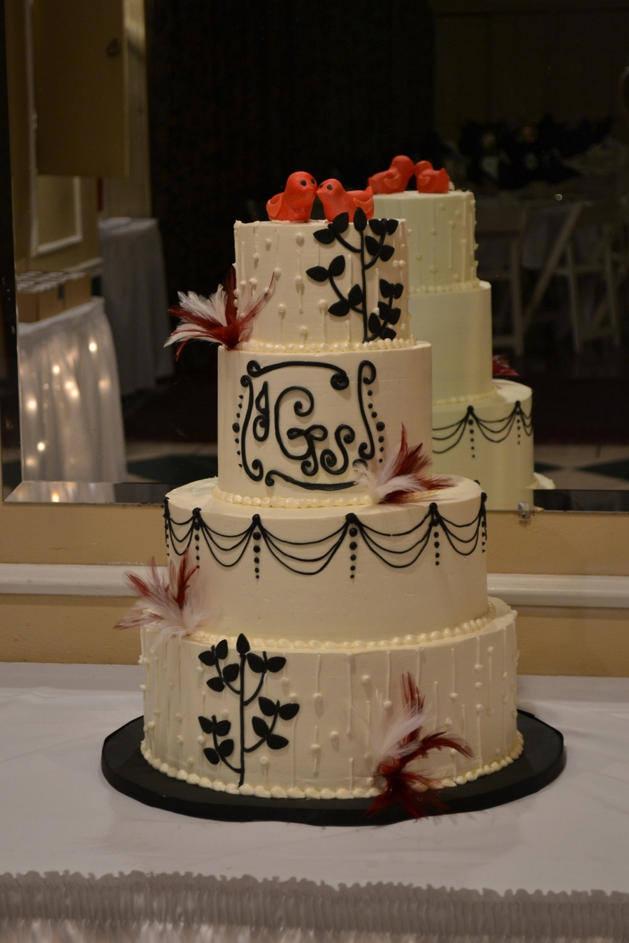 Red Birds, Black Branches on Cake Central