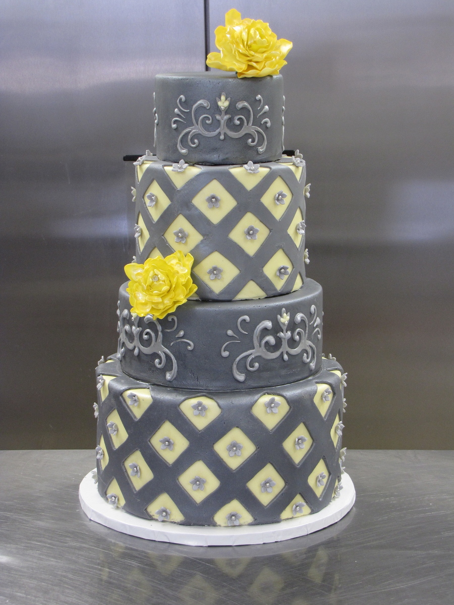 Grey And Yellow Diamond Cake on Cake Central