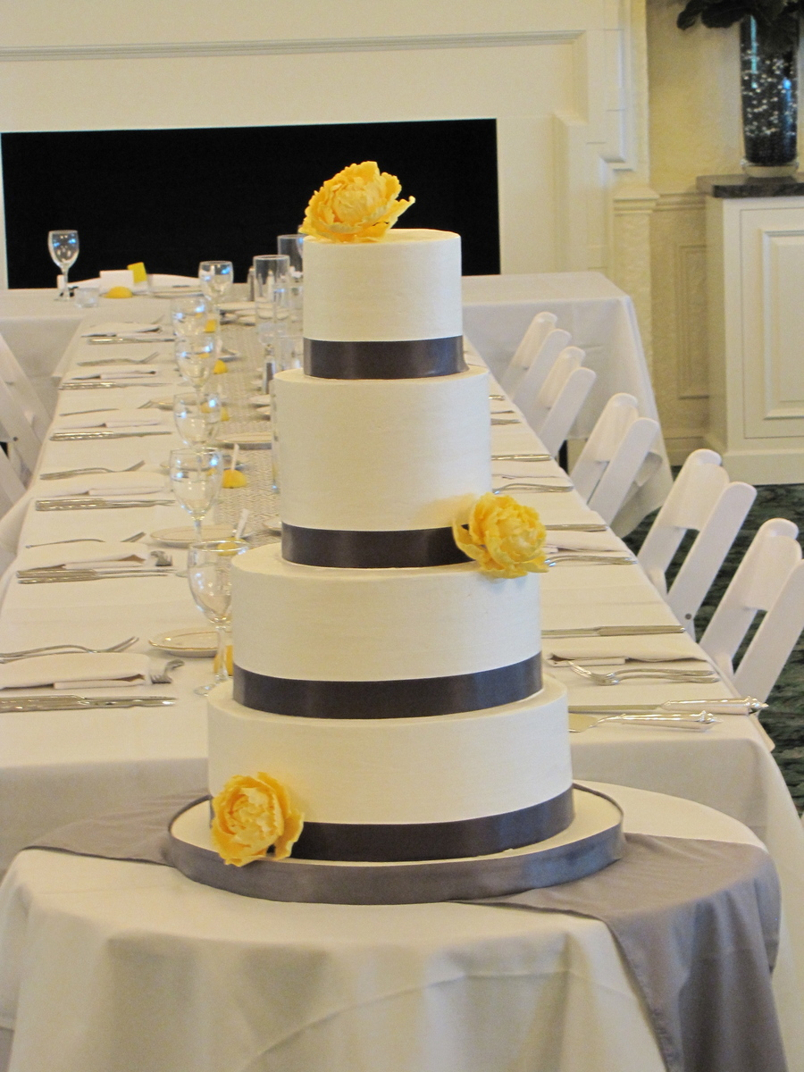 wedding cakes yellow and grey grey and yellow wedding cake cakecentral 26162