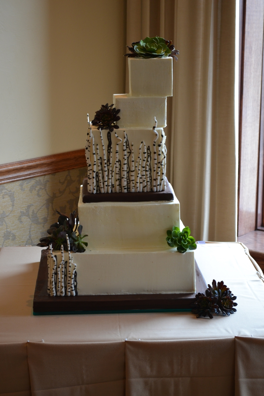 Succulents And Birch Branches on Cake Central