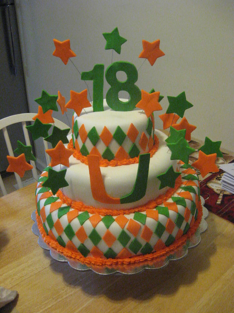 18Th Birthday / Acceptance To Univ. Of Miami  on Cake Central