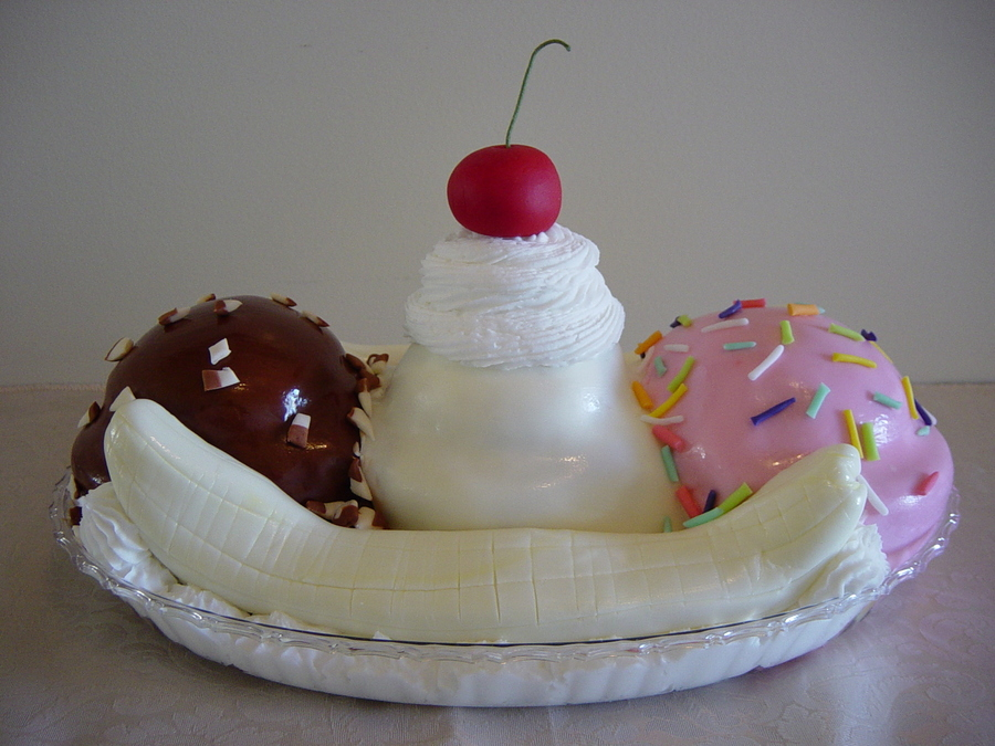 The Banana Split Cake on Cake Central