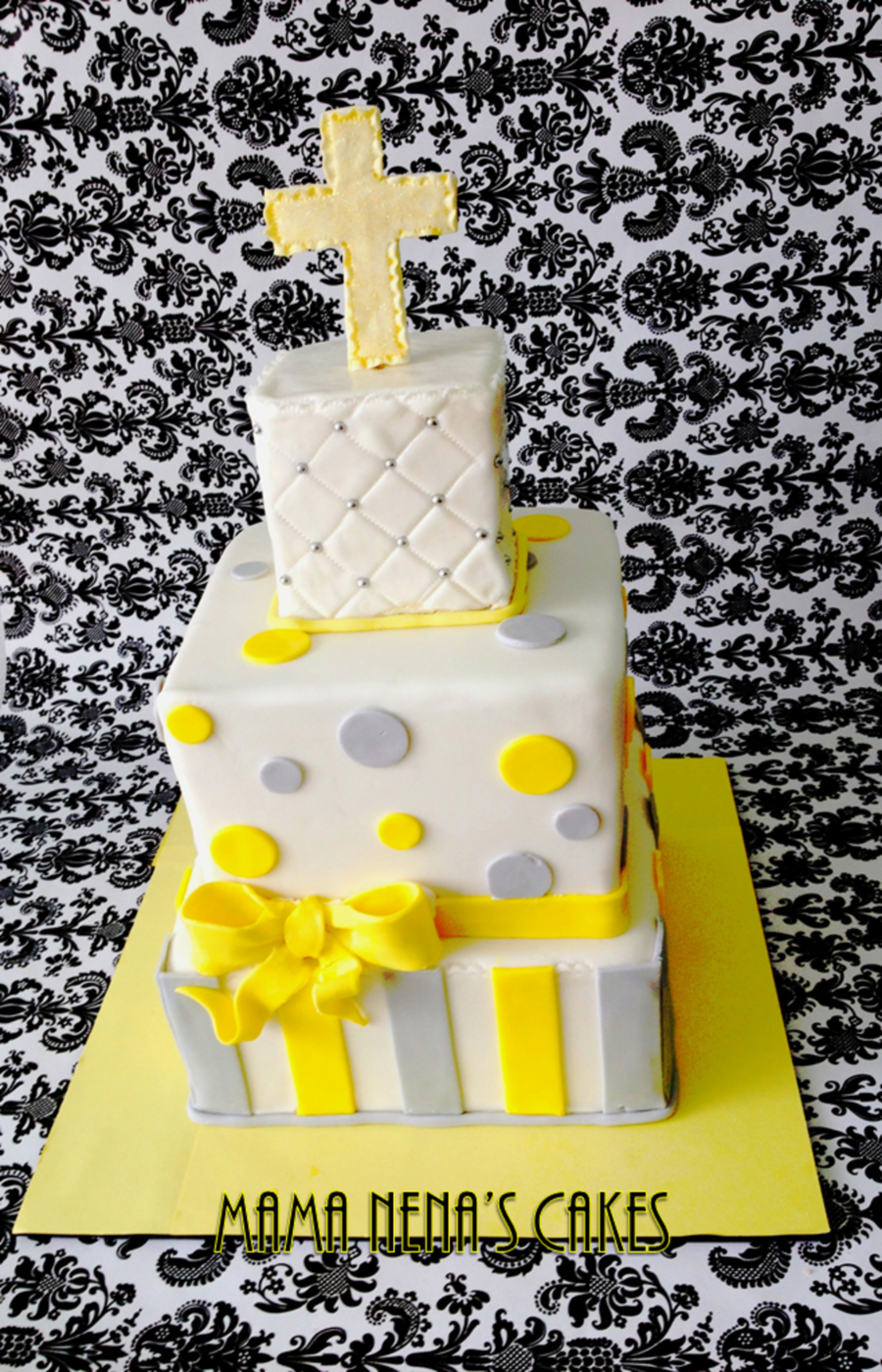 Baptism Cake In Grey And Yellow on Cake Central