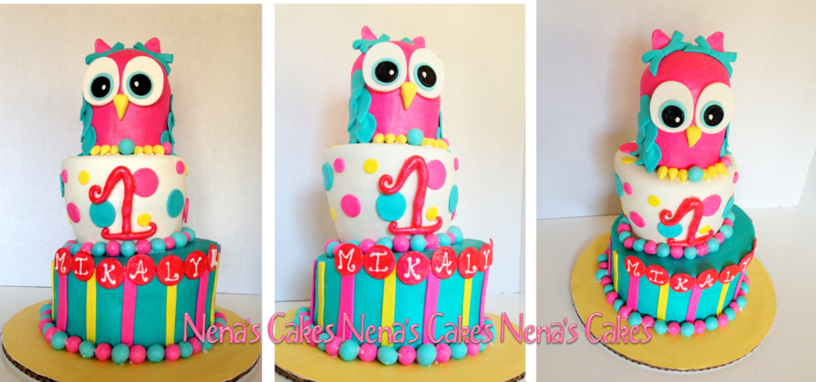 Owl 1St Birthday Cake on Cake Central