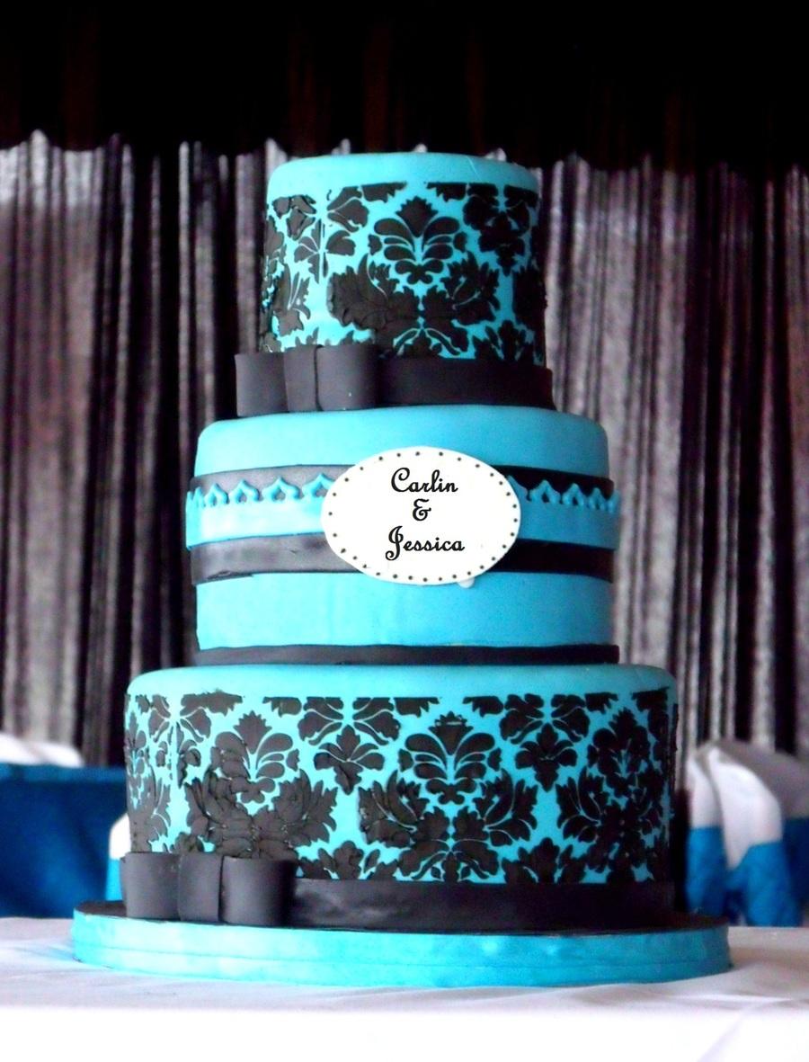 blue and black elegant wedding cake. Black Bedroom Furniture Sets. Home Design Ideas