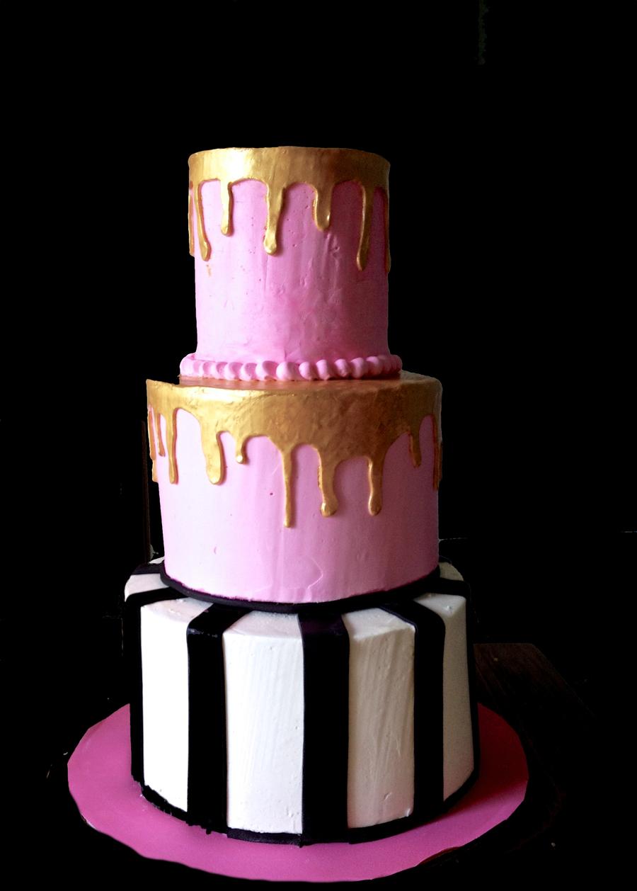 Pink, Gold, Black Cake - CakeCentral com