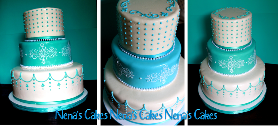 Teal Damasks Pearls Wedding Cake on Cake Central