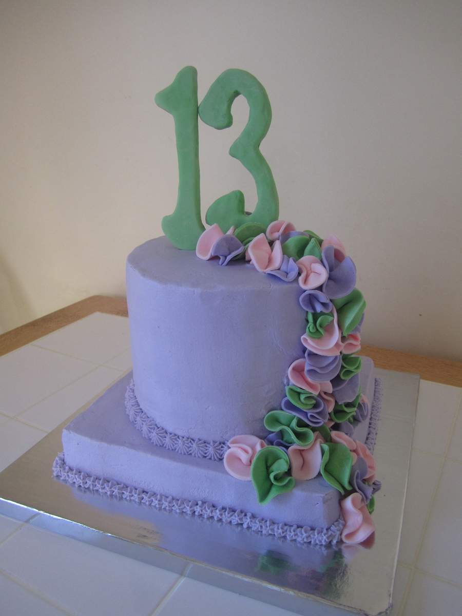 Lavender Thirteenth Birthday Cake With Fondant Flowers Cakecentral