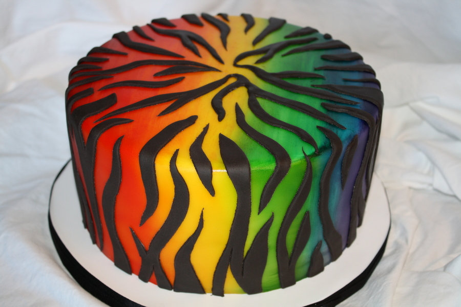 Rainbow Zebra Cake Airbrushed on Cake Central