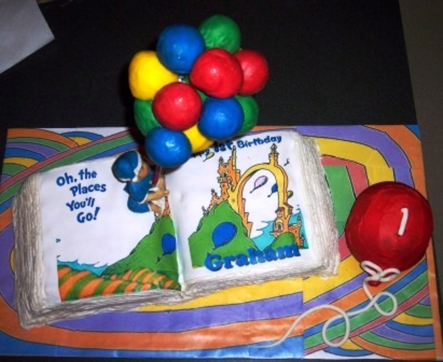Oh The Places Youll Go 1st Birthday Cake Cakecentral