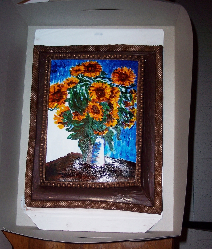 Monet Sunflowers For Art Teacher on Cake Central