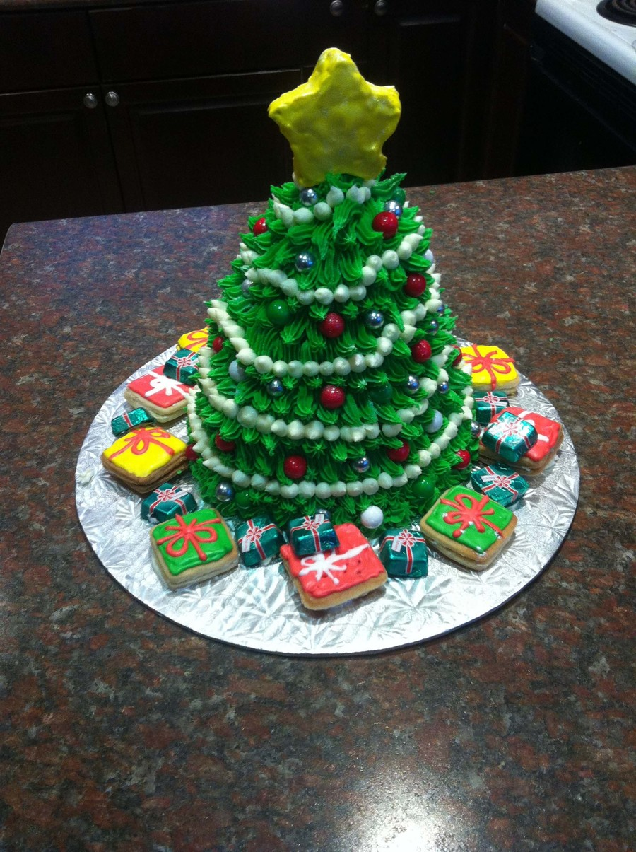 Wilton Christmas Tree Pan Buttercream Icing And Candy Star Is A