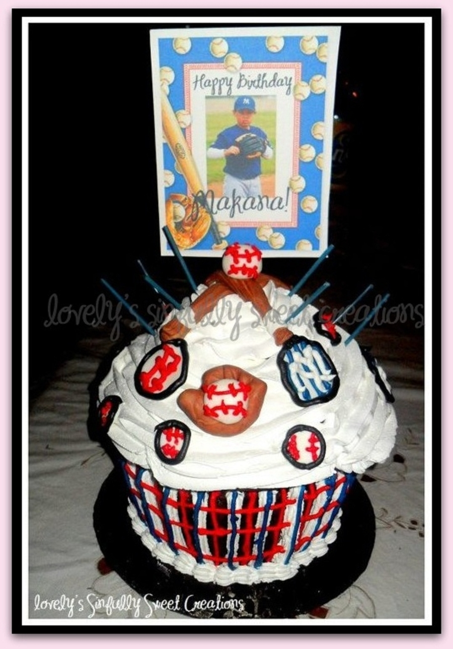 Giant Baseball Cupcake on Cake Central