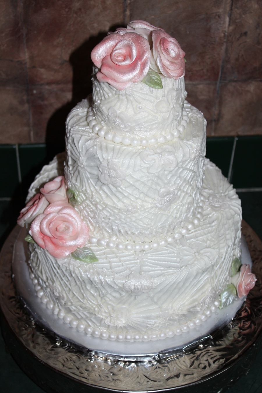Antique Pearl Lace Wedding on Cake Central