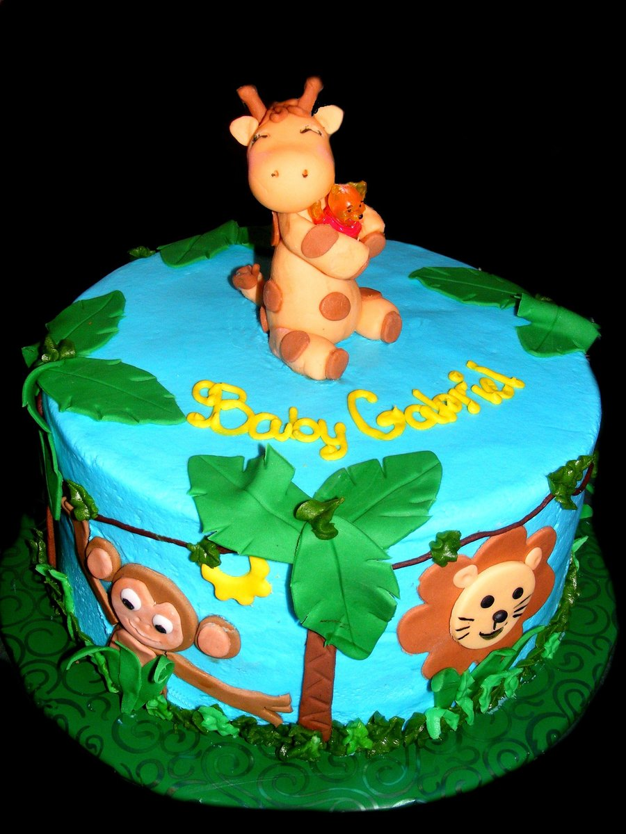 The Couple Had A Jungle Theme But Wanted Pooh Bear Incorperated In There Cus Of The History With The Dadhad No Idea How To Do That So I Ju... on Cake Central