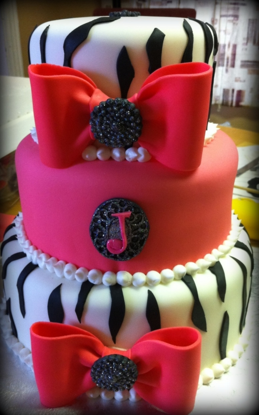 Zebra And Bow Cake on Cake Central