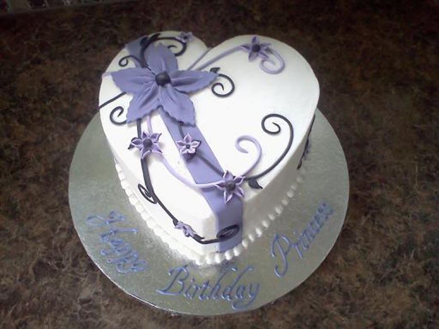 Heart Shaped Birthday Cake Buttercream With Fondant Decorations My Design Was Inspired By ...