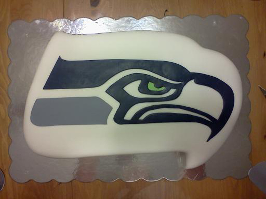 Seahawks Half Sheet Cake Carved And Covered In Fondant The Seahawk Is All Pieced Fondant on Cake Central