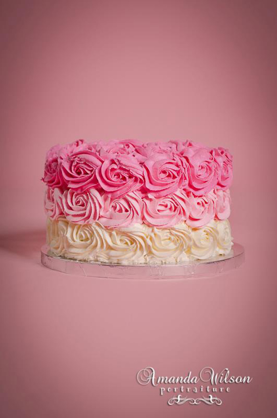 Pink Ombre Roses Cake  on Cake Central