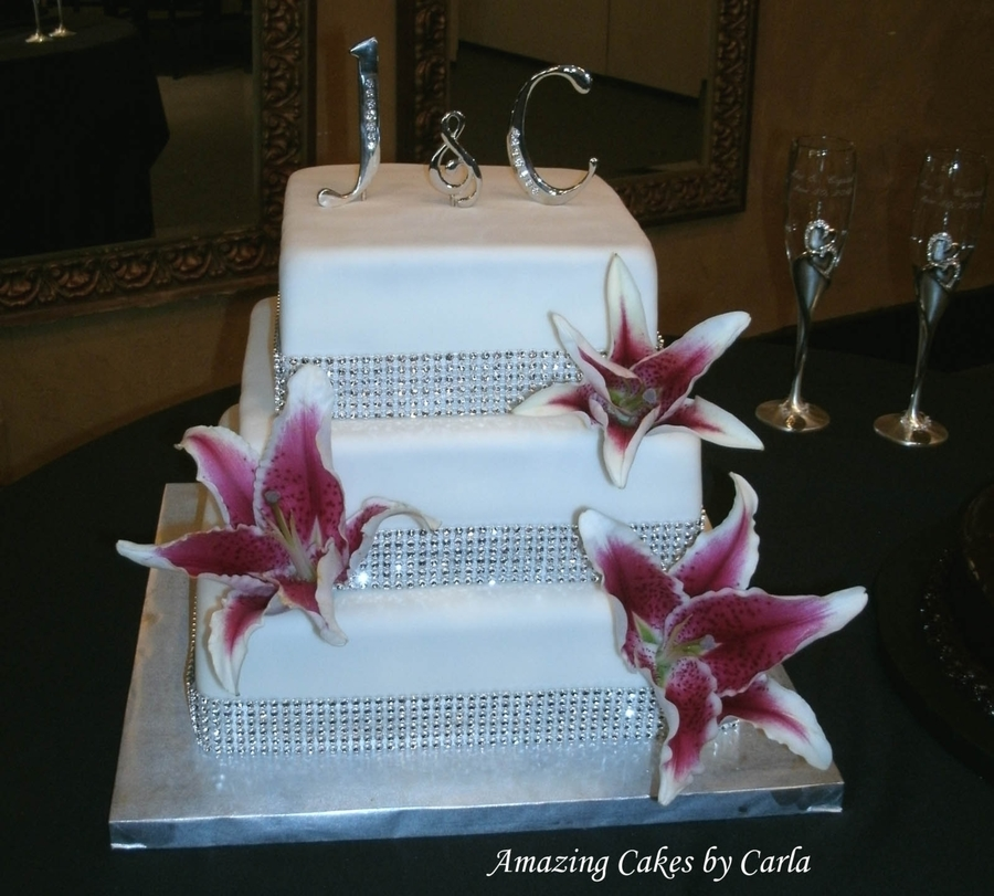 Wedding Cake Bling Beautiful Cakes That Sparkle Shine: Rhinestone Wedding Cake W/ Lilies