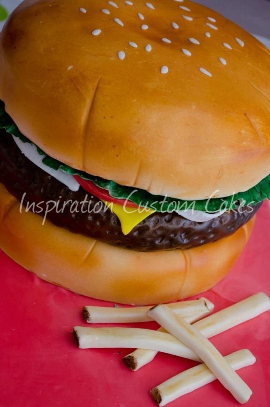 3D Cheeseburger Cake on Cake Central
