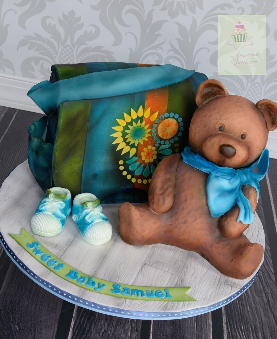 Baby Shower Diaper Bag Cake And Teddy Bear Cake