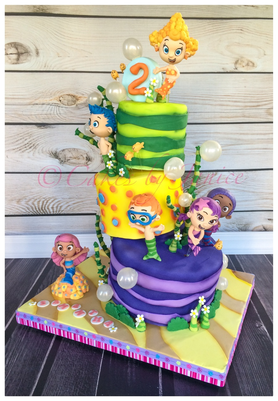 Bubble Guppies Cake 6 8 10 Topsy Turvy Crooked Cake