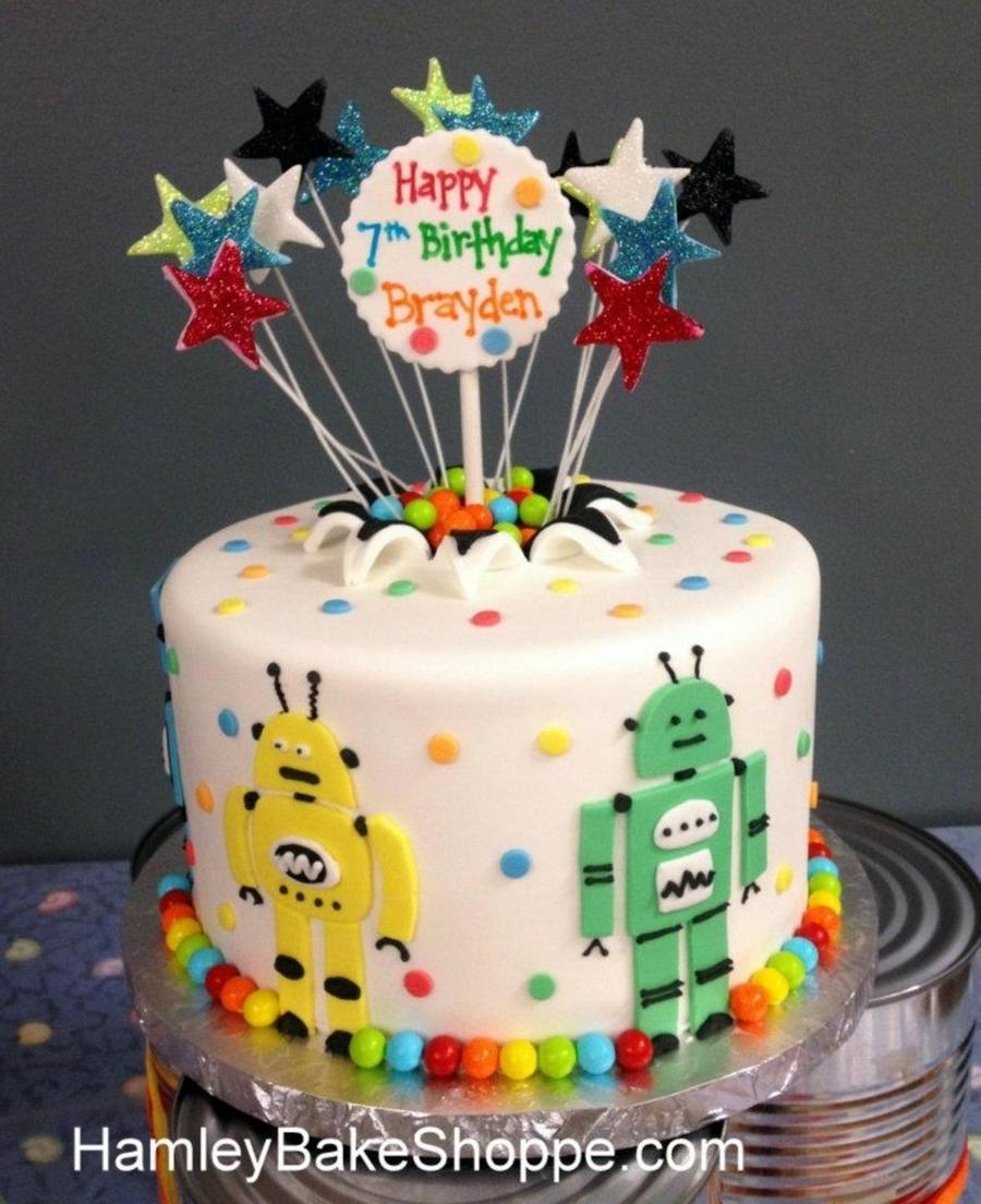 Groovy Robot Birthday Cake Cakecentral Com Personalised Birthday Cards Epsylily Jamesorg