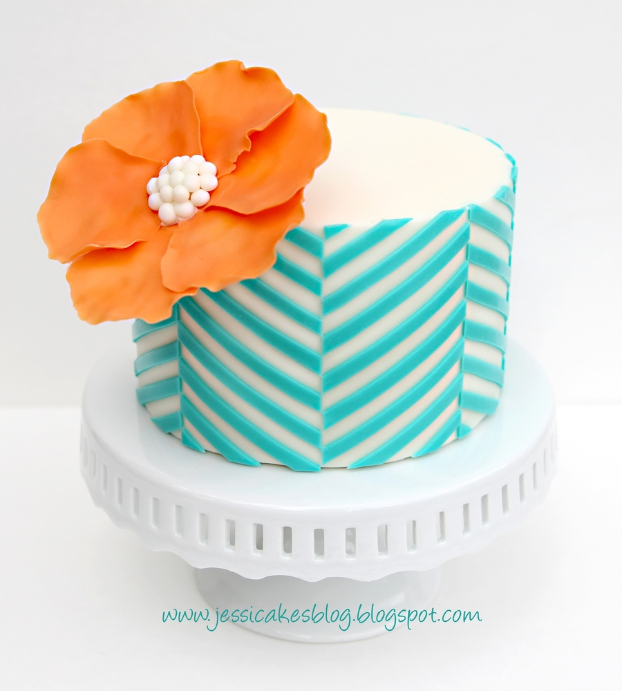 Offset Chevron Pattern Cake on Cake Central