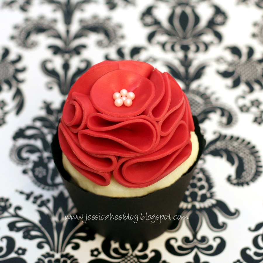 Vintage Ruffle Flower Cupcake Topper on Cake Central