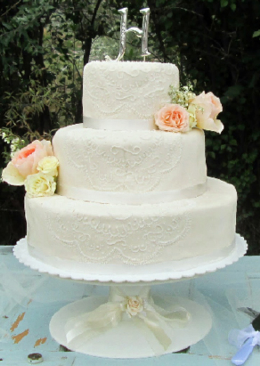 Round 3 Tier Wedding Cake With Piping - CakeCentral.com