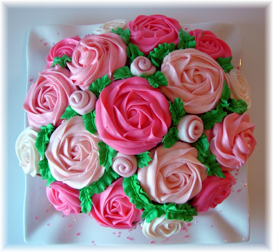 Cupcake Bouquet Cake In Cake Flower Pot - CakeCentral.com