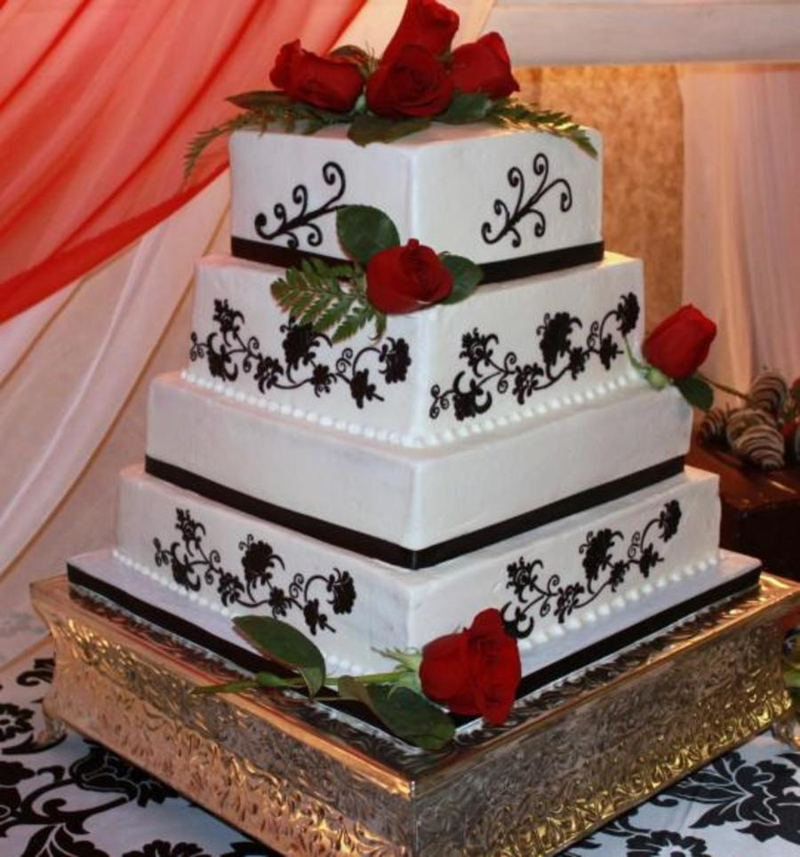 square wedding cake with red roses damask crewel square wedding cake with roses 20439