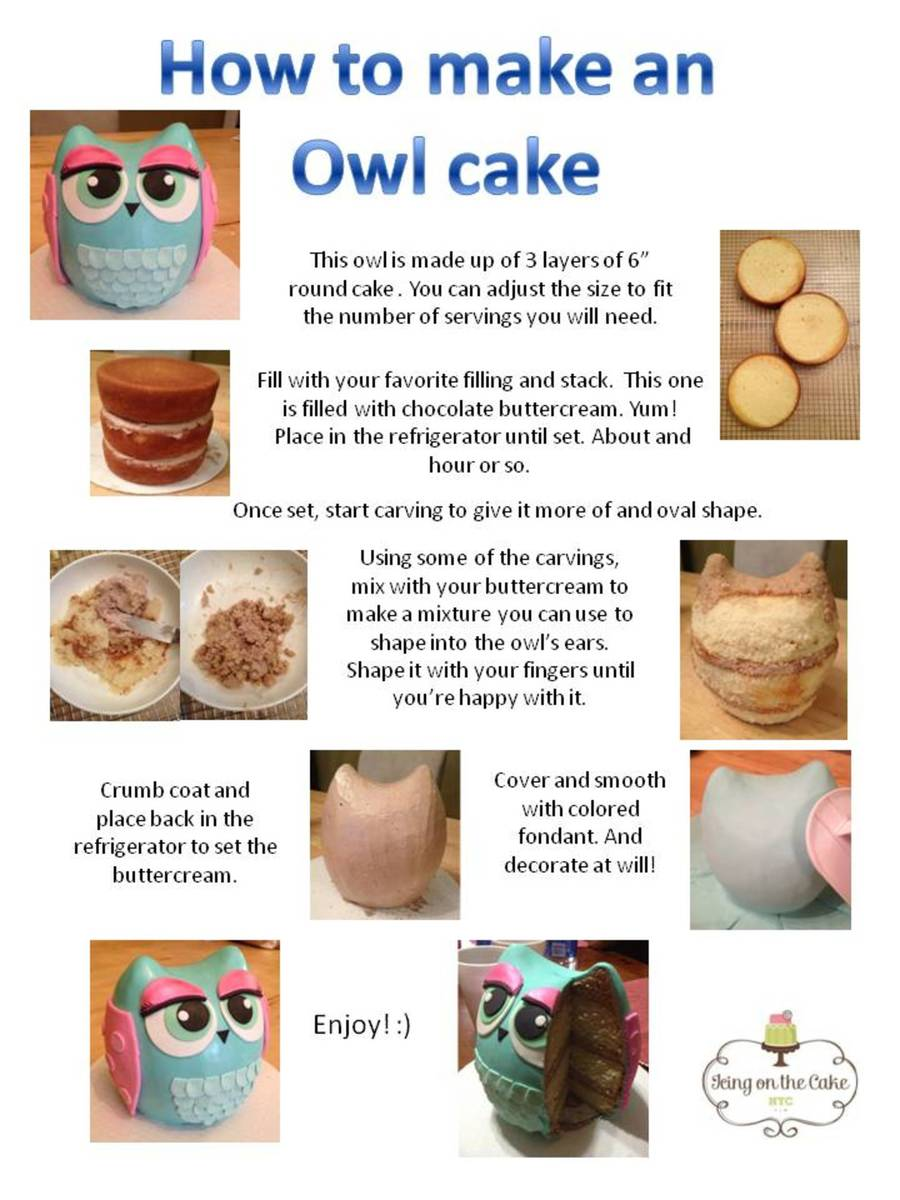 Owl Cake Instructions  on Cake Central