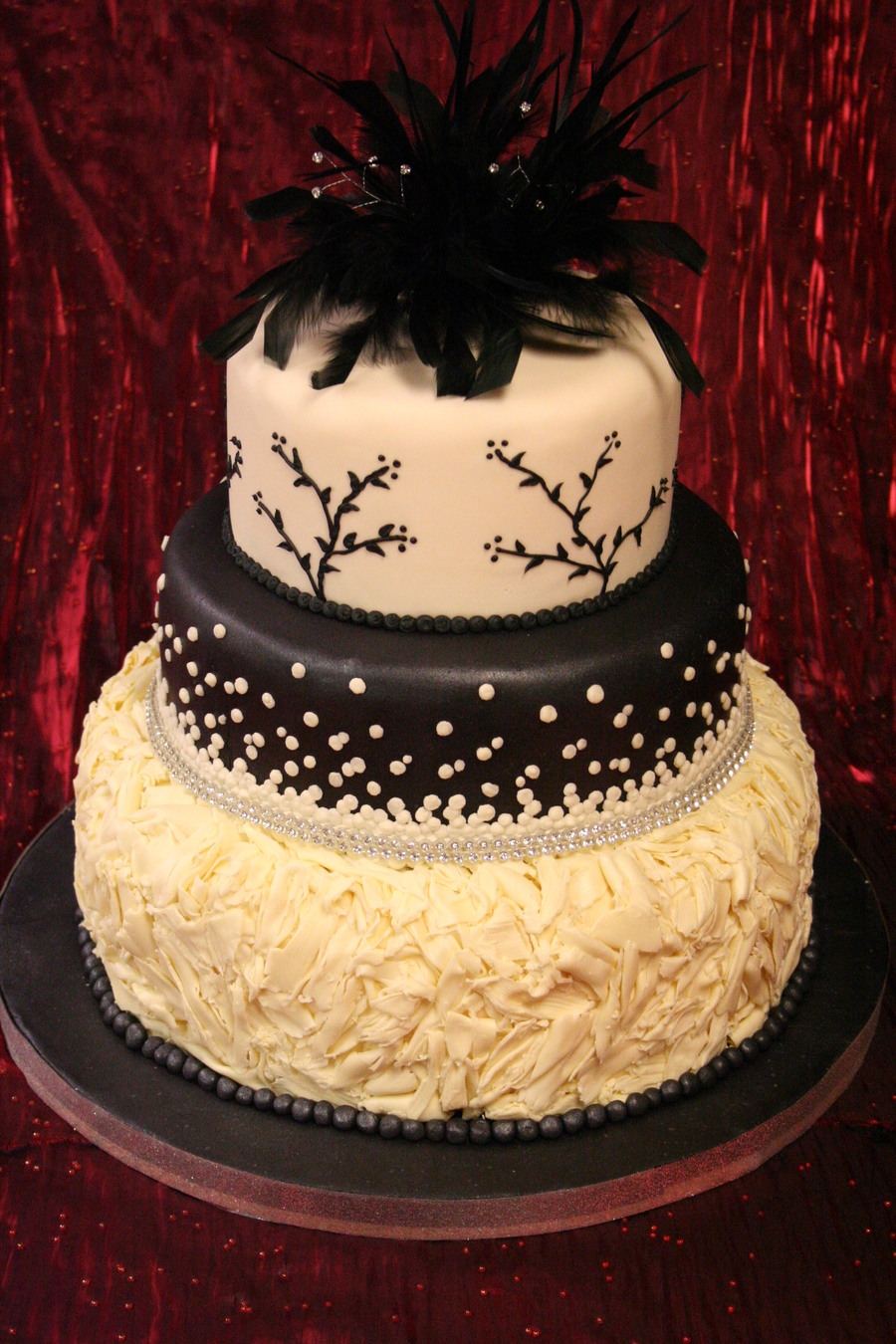 Black & Ivory Wedding Cake - CakeCentral.com