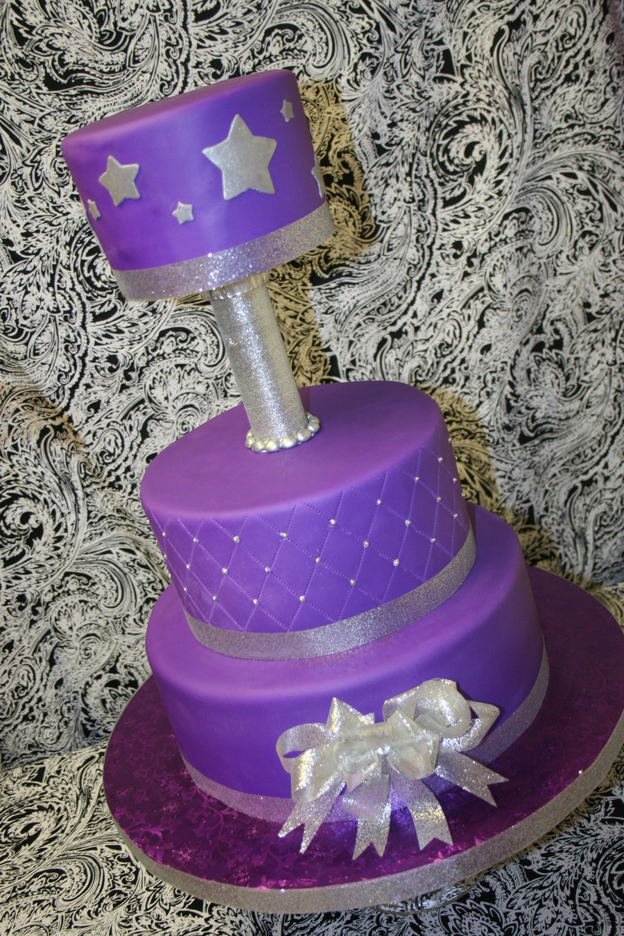 Purple & Silver Stars! on Cake Central
