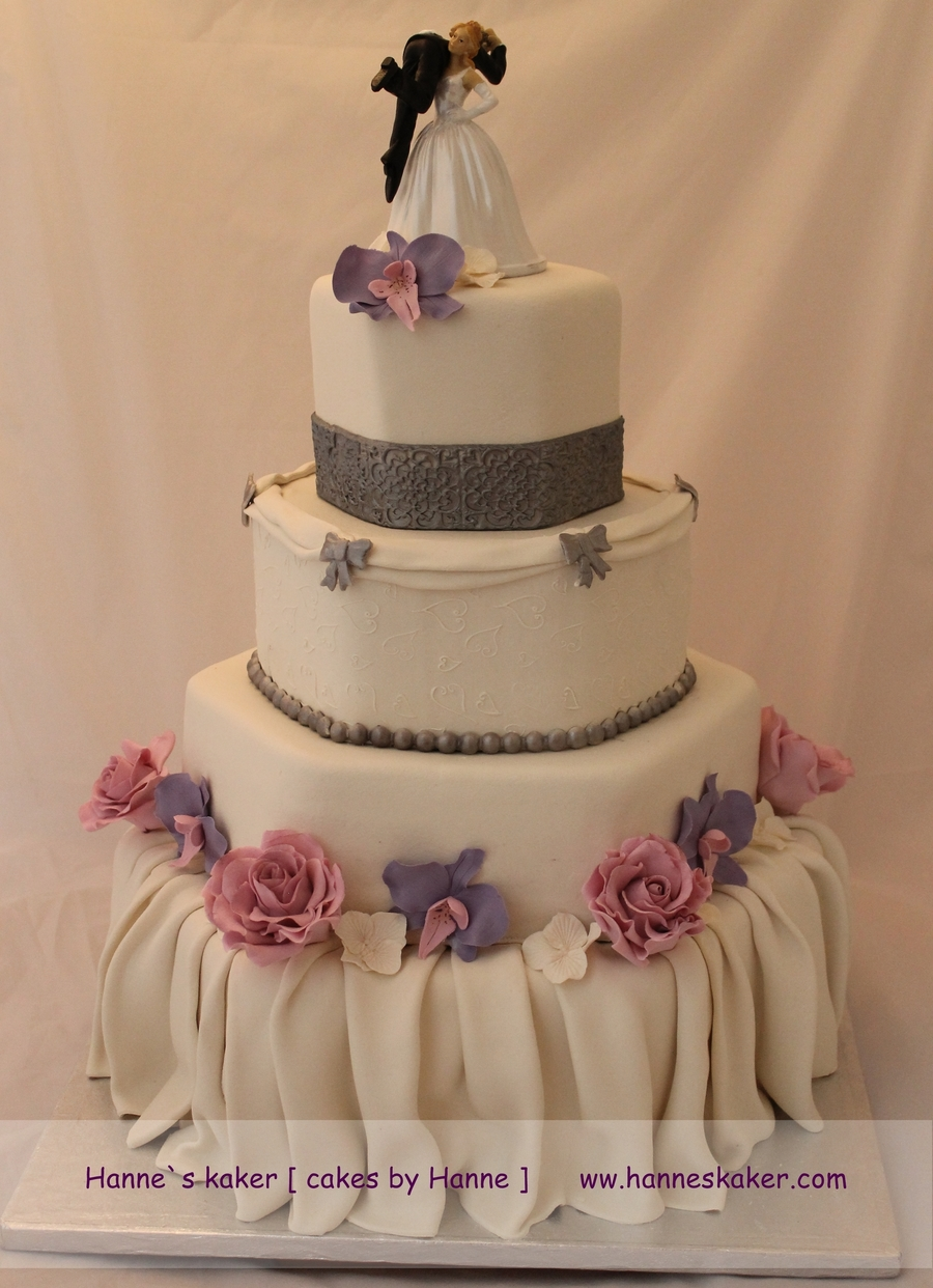 Wedding Cake With Roses on Cake Central
