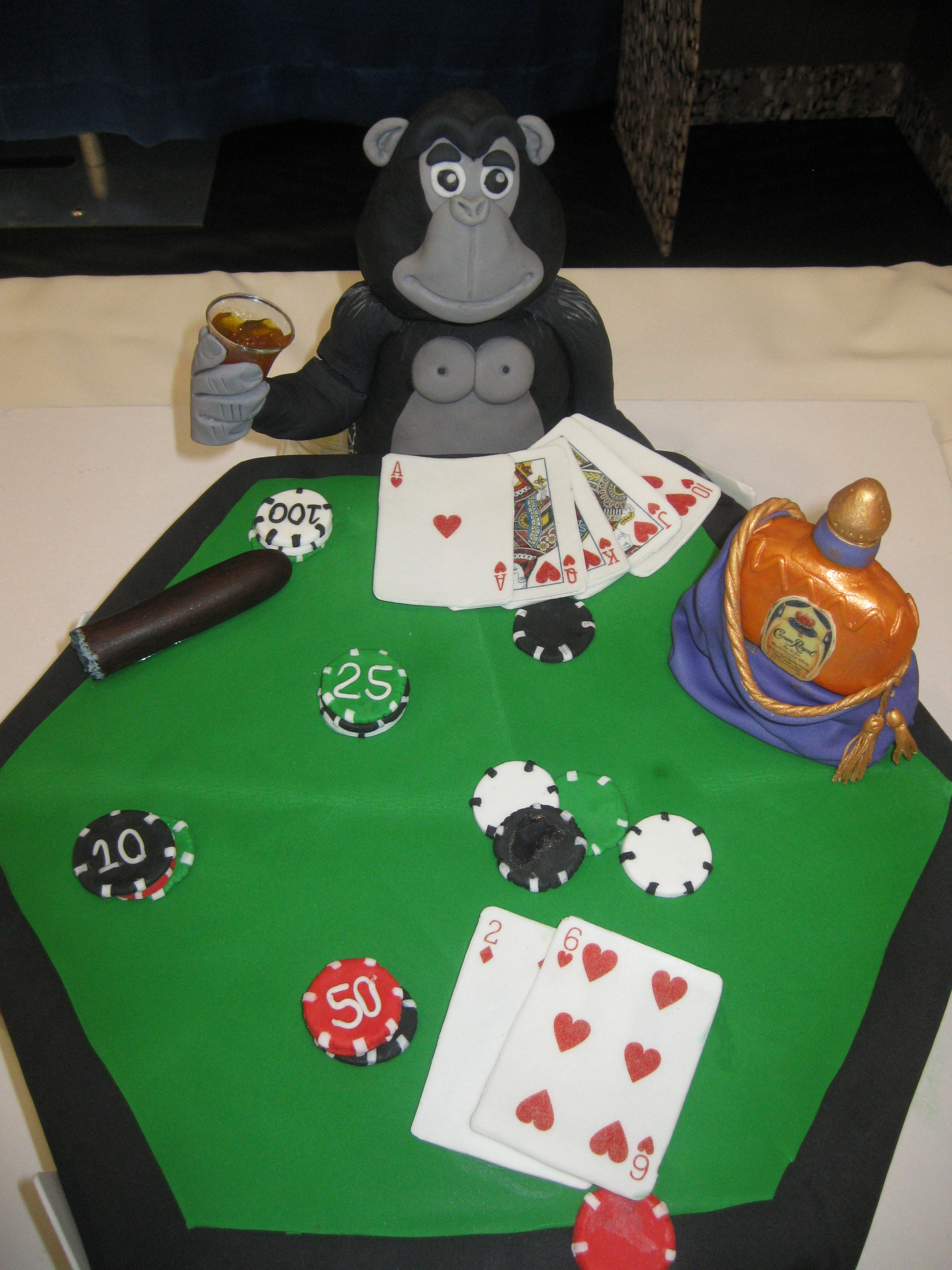 Silverback Gorilla Playing Poker Smoking Cigar And Drinking Crown Royal Grooms Cake 15 Hexagon Cake Cakecentral Com