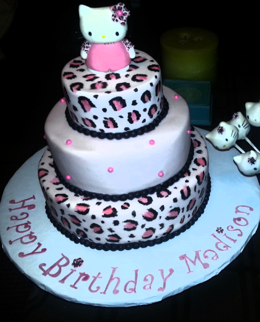 Hello Kitty Leopard Designs With Matching Cake Pops CakeCentralcom
