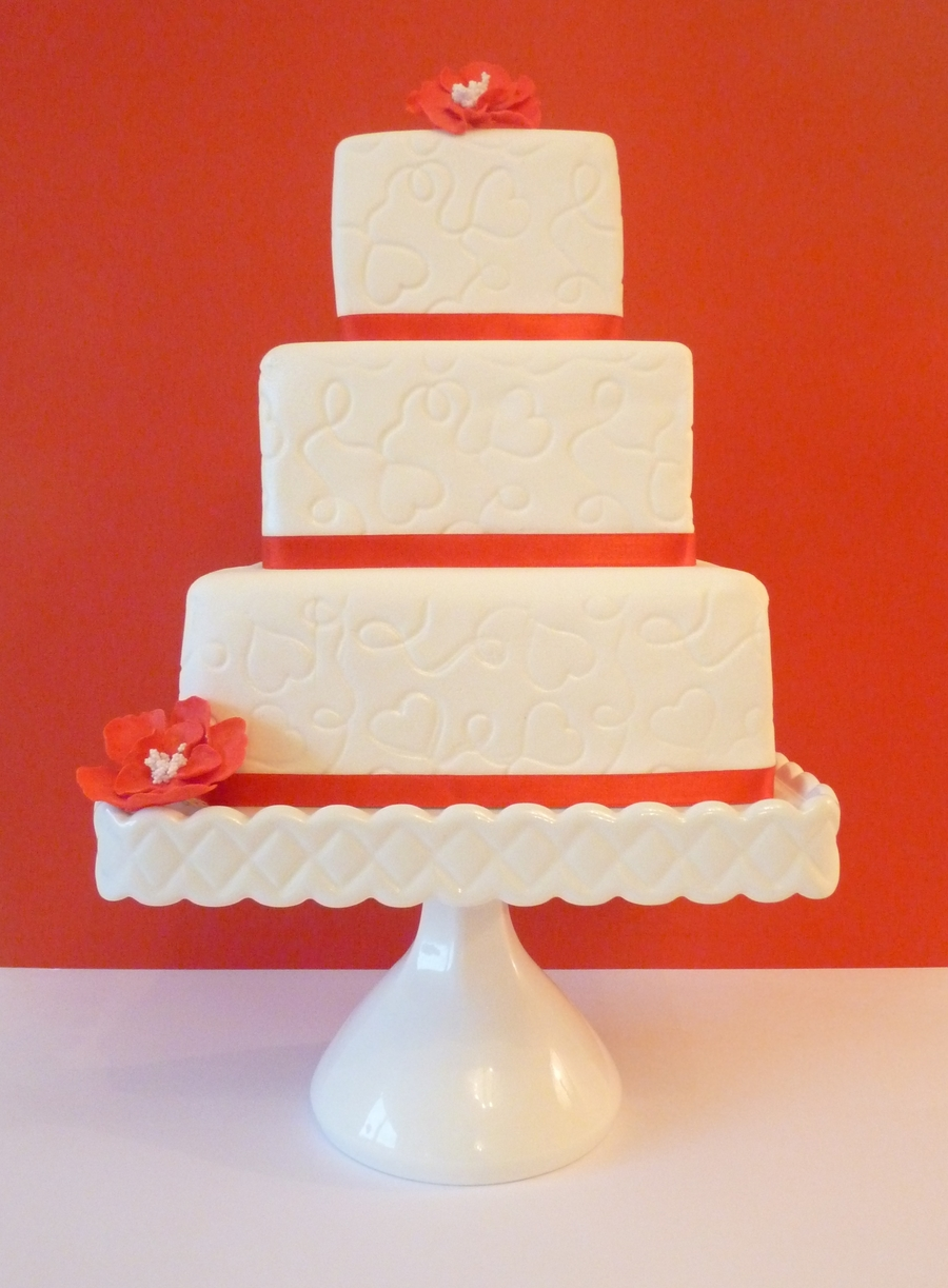 Embossed Valentine's Wedding on Cake Central