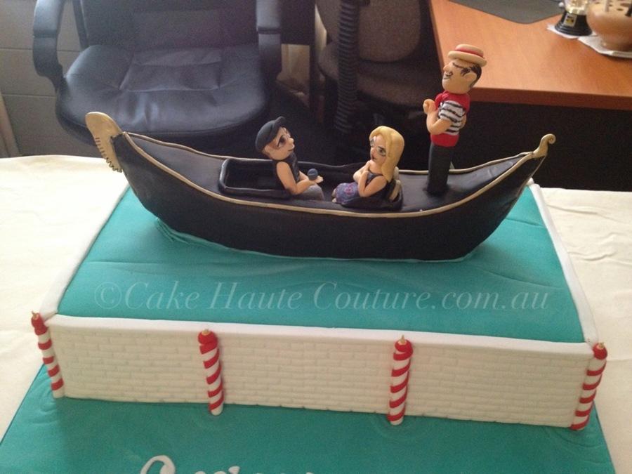 Venice Gondola Engagement Cake - CakeCentral.com