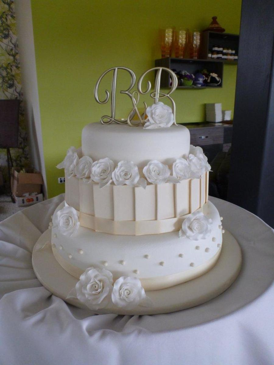 My First Wedding Cake White Ivory 3 Tier Wedding Cake With - 3 Tier Wedding Cakes