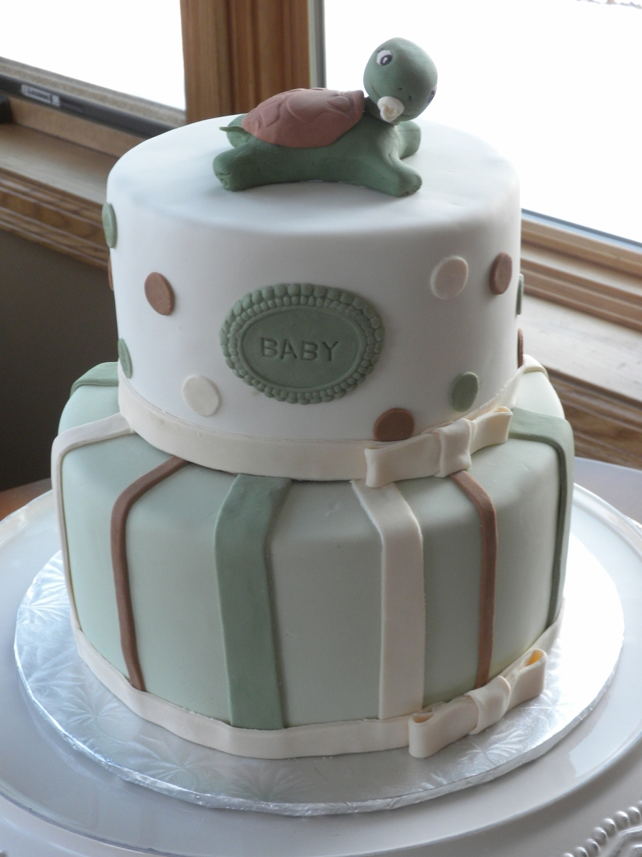 Turtle Theme Baby Shower Cake on Cake Central