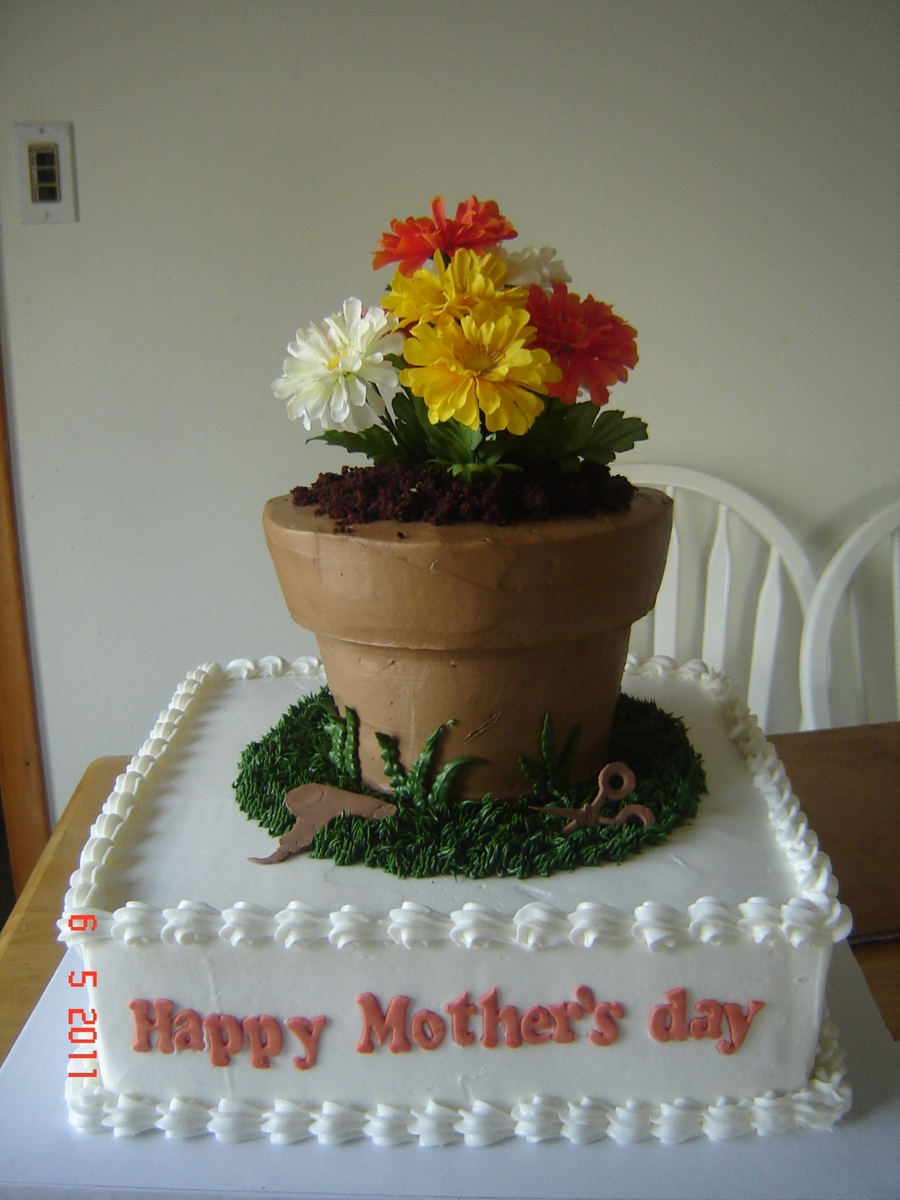 Flower Pot on Cake Central