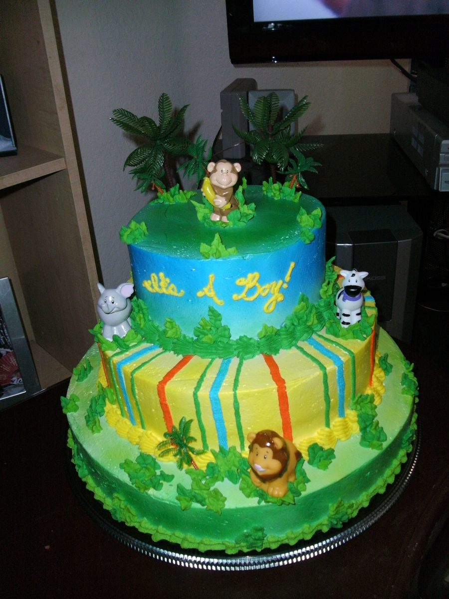 Jungle Theme Baby Shower Cake on Cake Central