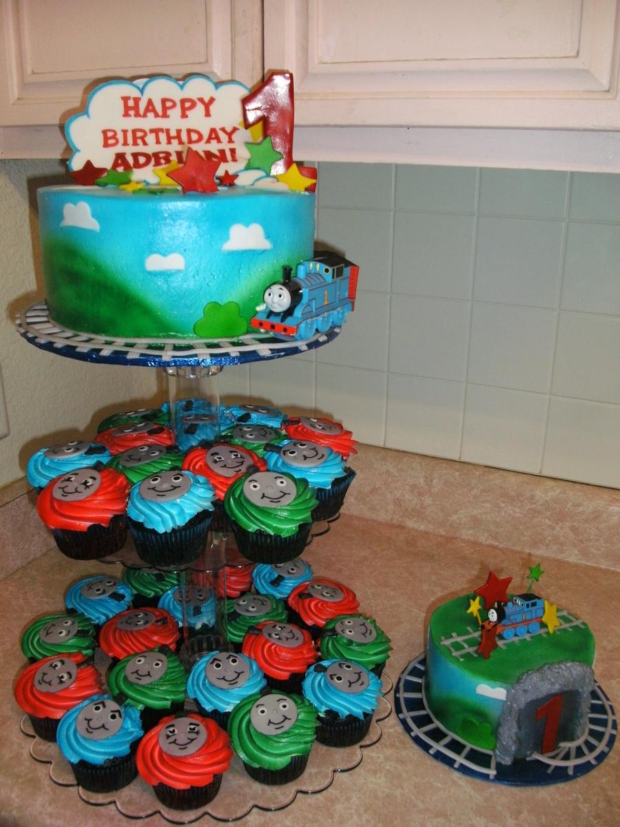 Thomas The Train Cake Smash Cake And Cupcakes