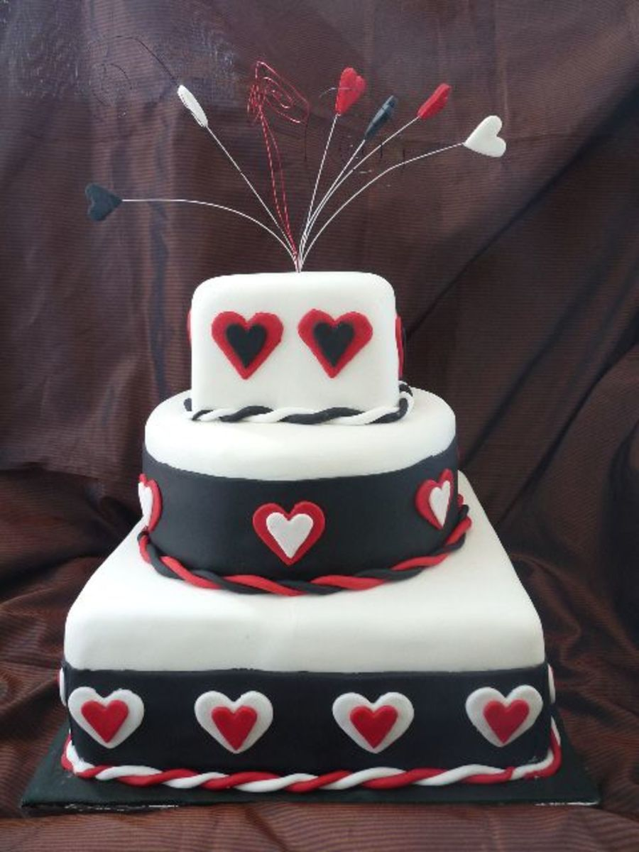 3Tier Mixed Shape Black N White Wedding Cake on Cake Central